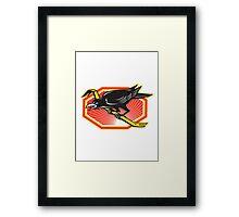 Crow Perching on Crowbar Retro Framed Print
