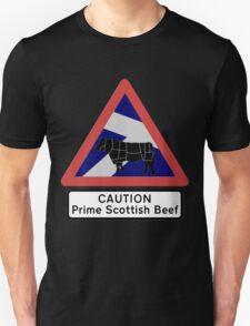 Caution Prime Scottish Beef Unisex T-Shirt