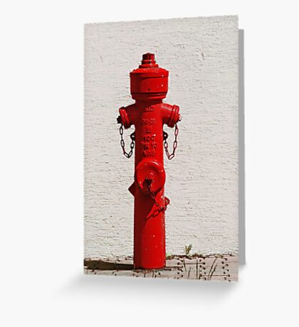 Bright Red Fire Hydrant VRS2 Greeting Card