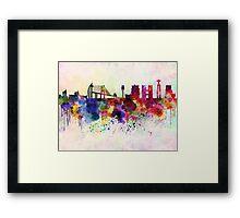 Lisbon skyline in watercolor background Framed Print
