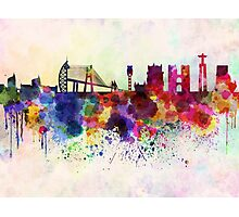 Lisbon skyline in watercolor background Photographic Print
