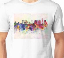 Lisbon skyline in watercolor background Unisex T-Shirt
