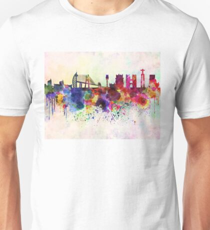 Lisbon skyline in watercolor background Unisex T-Shirt