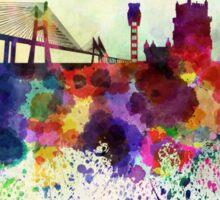 Lisbon skyline in watercolor background Sticker