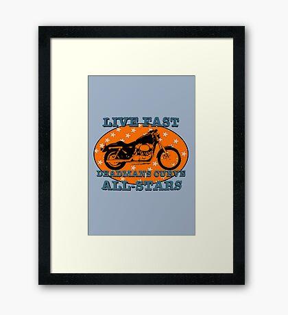 Live Fast Deadmans Curve All Stars Motorcycle Framed Print