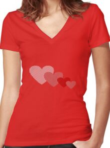 Patchwork Hearts Women's Fitted V-Neck T-Shirt