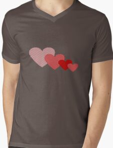 Patchwork Hearts Mens V-Neck T-Shirt