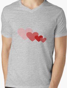 Patchwork Hearts Mens V-Neck T-Shirt