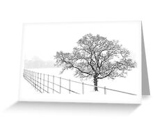 Tree in a snowy landscape. Greeting Card