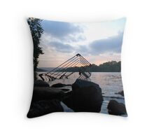Shopping troll under the bridge Throw Pillow