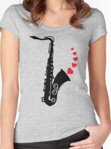 Sax and Love Women's Fitted Scoop T-Shirt