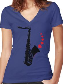 Sax and Love Women's Fitted V-Neck T-Shirt