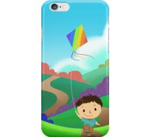 A Kid is Running and Flying a Kite in the Colorful Field. iPhone Case/Skin