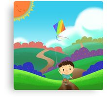 A Kid is Running and Flying a Kite in the Colorful Field. Canvas Print