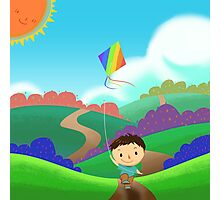A Kid is Running and Flying a Kite in the Colorful Field. Photographic Print