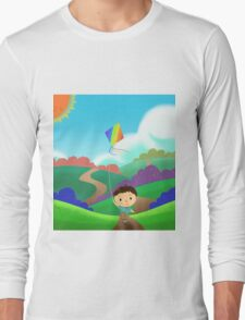 A Kid is Running and Flying a Kite in the Colorful Field. Long Sleeve T-Shirt