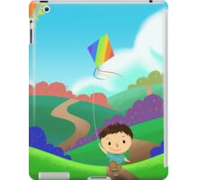 A Kid is Running and Flying a Kite in the Colorful Field. iPad Case/Skin
