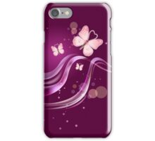 Ruby pink Beautiful & Lovely Butterflies iPhone Case/Skin