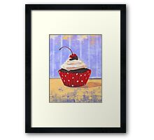 Red Cherry Cupcake Framed Print