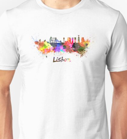 Lisbon skyline in watercolor Unisex T-Shirt