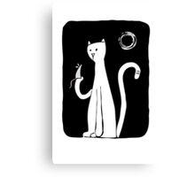 Cat & Mouse - Black Canvas Print