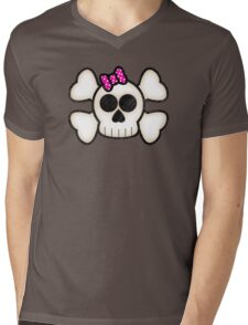 Kawaii Emo Girls Skull and Crossbones Mens V-Neck T-Shirt