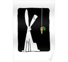 Rabbit & Carrot - Black Poster