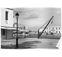 Rethymno harbour mono Poster