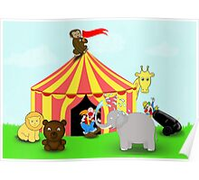 Fun Cartoon Circus Scene Poster