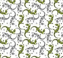 White and green gecko lizards pattern by stasia-ch