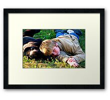 dog and child Framed Print
