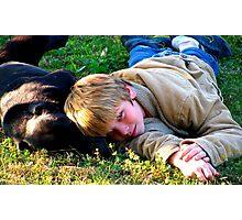 dog and child Photographic Print