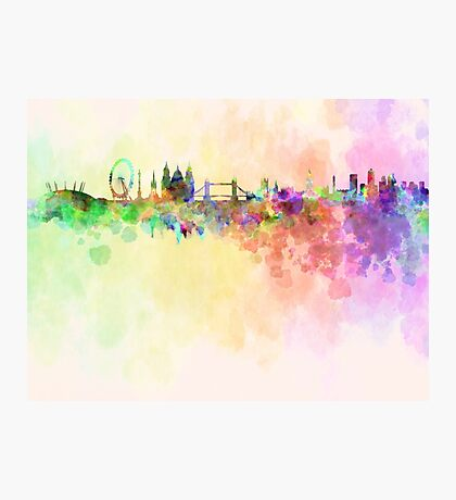 London skyline in watercolor background Photographic Print