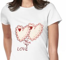Cute Hearts and Love text Tee Womens Fitted T-Shirt