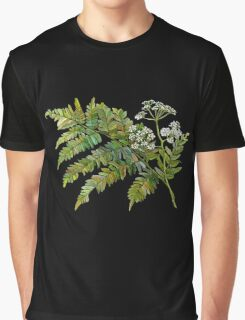 Watercolor fern and flowers Graphic T-Shirt