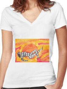 Nut at sunset Women's Fitted V-Neck T-Shirt