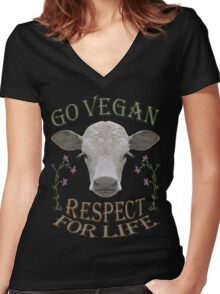 GO VEGAN - RESPECT FOR LIFE Women's Fitted V-Neck T-Shirt