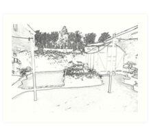 Pencil Back Garden  Art Print