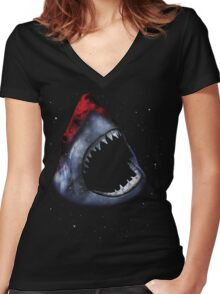 12th Doctor Who Star/Space Shark T-Shirt Ver. 1 Women's Fitted V-Neck T-Shirt