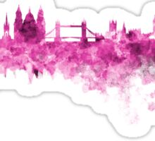 London skyline in pink watercolor on white background Sticker