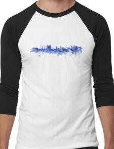 London skyline in blue watercolor on white background Men's Baseball ¾ T-Shirt
