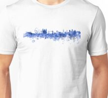 London skyline in blue watercolor on white background Unisex T-Shirt