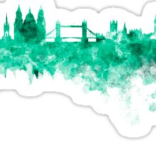 London skyline in green watercolor on white background Sticker