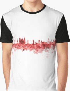 London skyline in red watercolor on white background Graphic T-Shirt