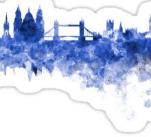 London skyline in blue watercolor on white background Sticker