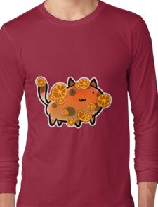 Orange Fruit Cat Long Sleeve T-Shirt