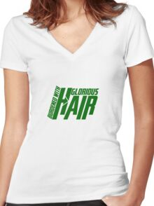 Burdened with Glorious Hair Women's Fitted V-Neck T-Shirt