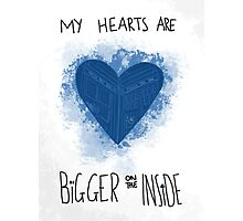 My Hearts are Bigger on the Inside Blue Photographic Print