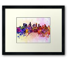 Los Angeles skyline in watercolor background Framed Print