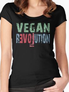 VEGAN REVOLUTION - vegan, vegetarian, animal rights, cruelty to animals Women's Fitted Scoop T-Shirt
